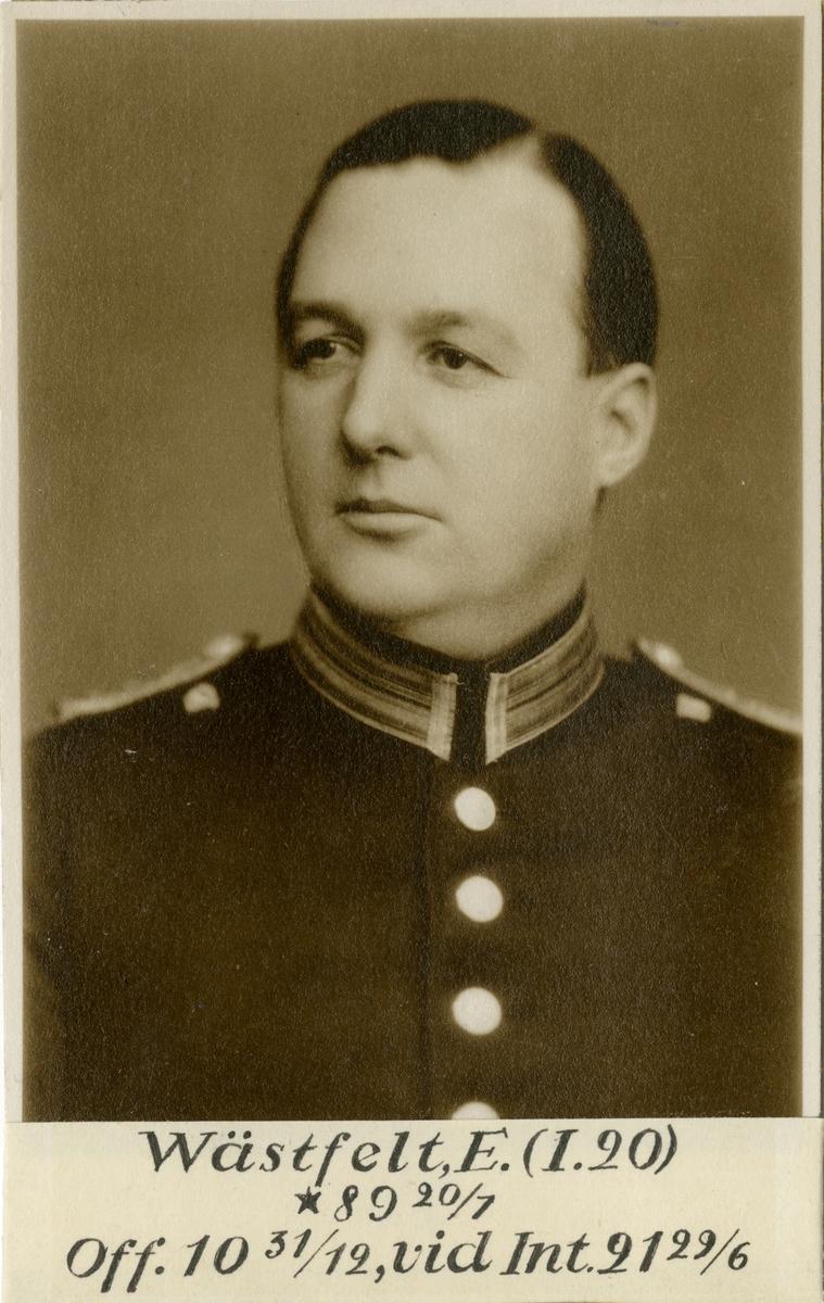 Porträtt av Erik Wästfelt, officer vid Västerbottens regemente I 20 och Intendenturkåren.
