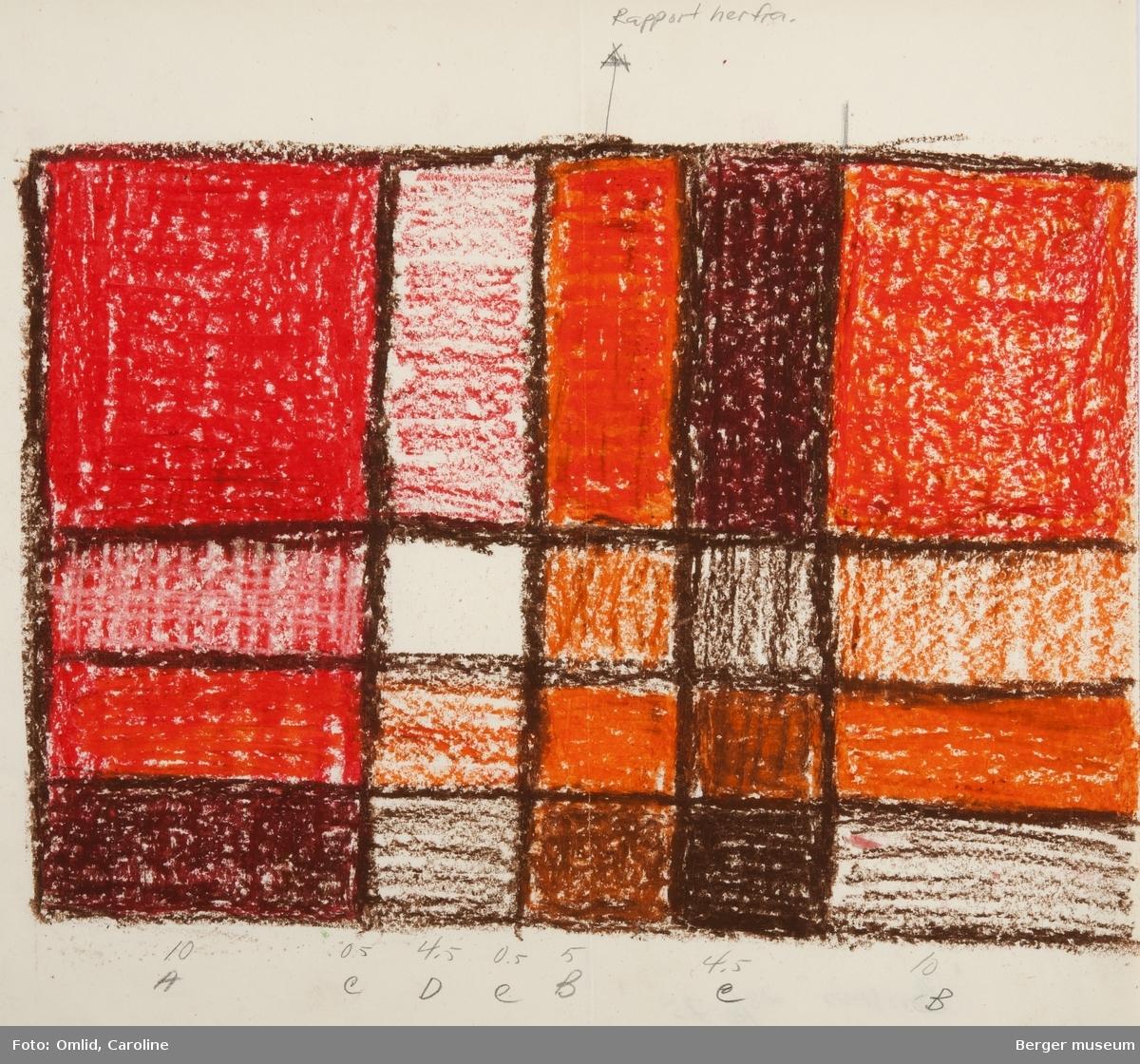 Ruter inspirert av gruppen de Stijls geometriske ruteformspråk. Rutene er fylt av farger som endrer nyanse etter blanding av renning og innslag, og avgrenses av en mørkere brun linje