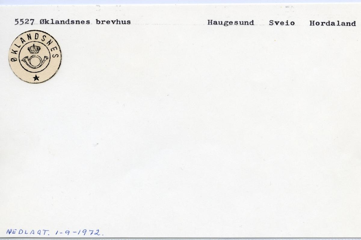 Stempelkatalog 5527 Øklandsnes, Sveio kommune, Hordaland