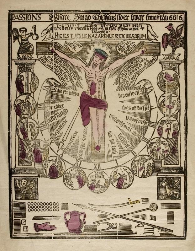 Tresnitt frå Norsk Folkemuseum si samling som viser Jesu lidingshistorie.