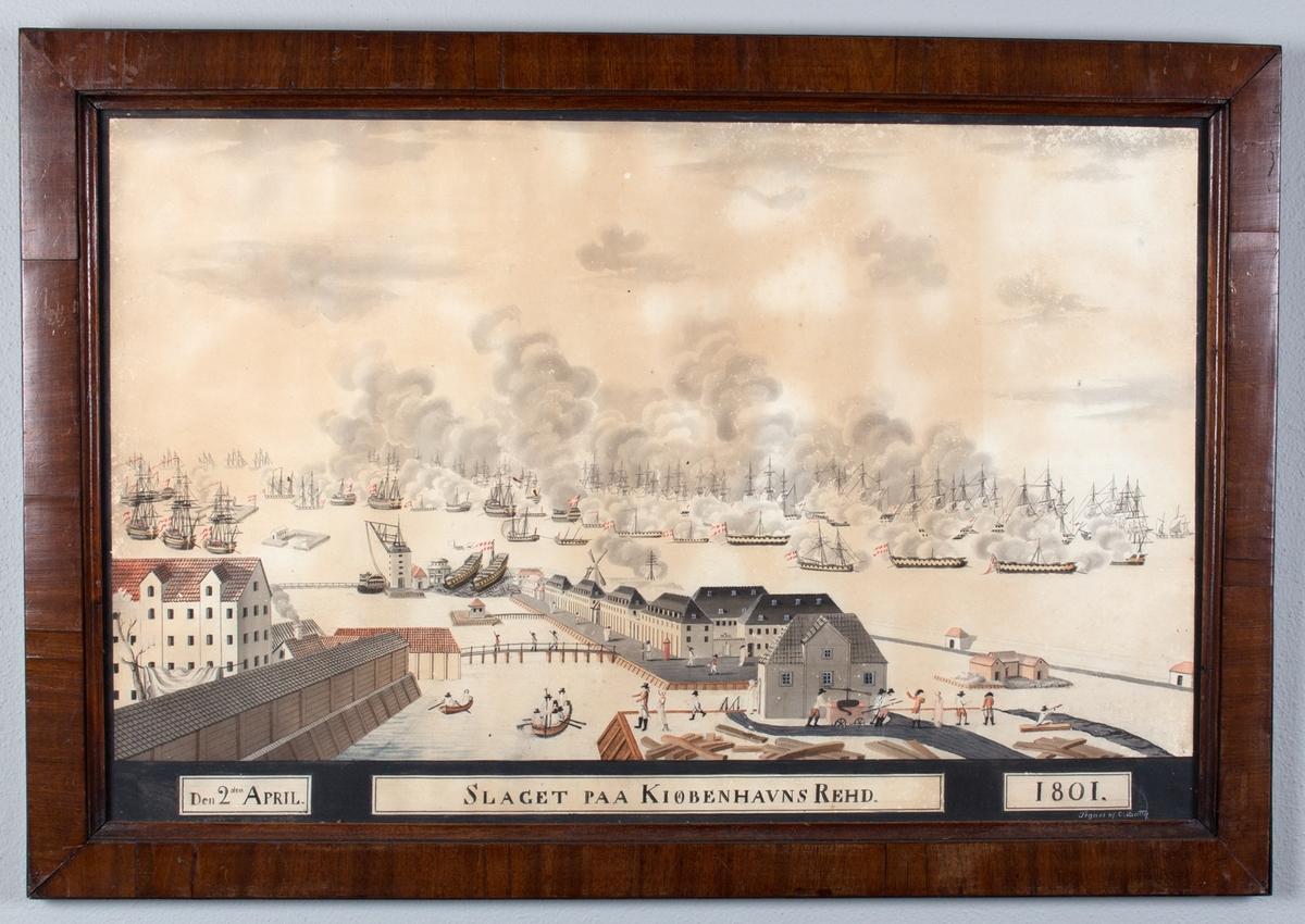 Slaget på Københavns red. Slagscener sett fra land mot havnen. Den britiske og den dansk/norske flåten i trefning.