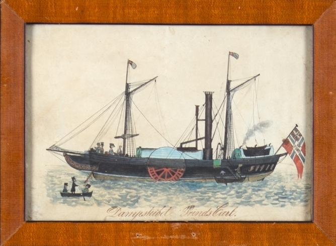 Hjuldampskipet PRINDS CARL til ankers med ombordstigende passasjerer. Ser postflagg med sildesalat akter.