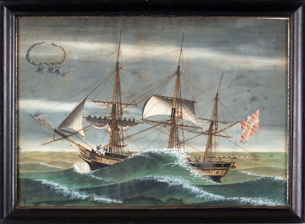 Skipsportrett av fullrigger DE TOLV SØDSKENDE i uvær, mannskapet driver med seilbergning. Skipet fører Dannebrog med det kongelige navneschiffer, og kan tyde på at skipet er på Middelhavsfart.