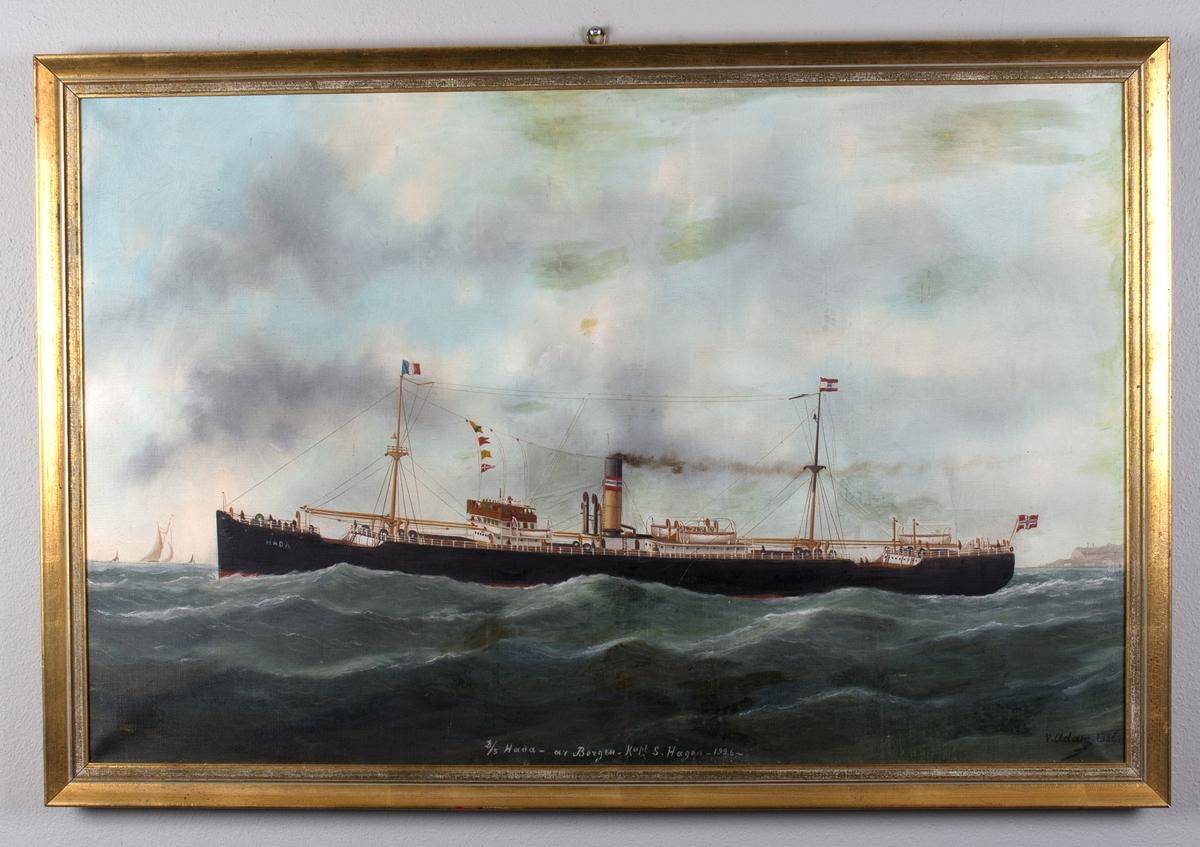 Skipsportrett av dampskipet HADA under fart i rom sjø.