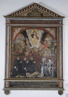 Epitafium fra Berg kirke i Vestfold, datert 1601. Epitafier eller minnetavler over framstående personer er en form for bilder som ble vanlige i norske kirker etter reformasjonen. Dette epitafiet er bekostet av Dorthe Christensdatter til minne om henne selv og hennes tre ektemenn, som døde i henholdsvis 1590, 1597 og 1601.