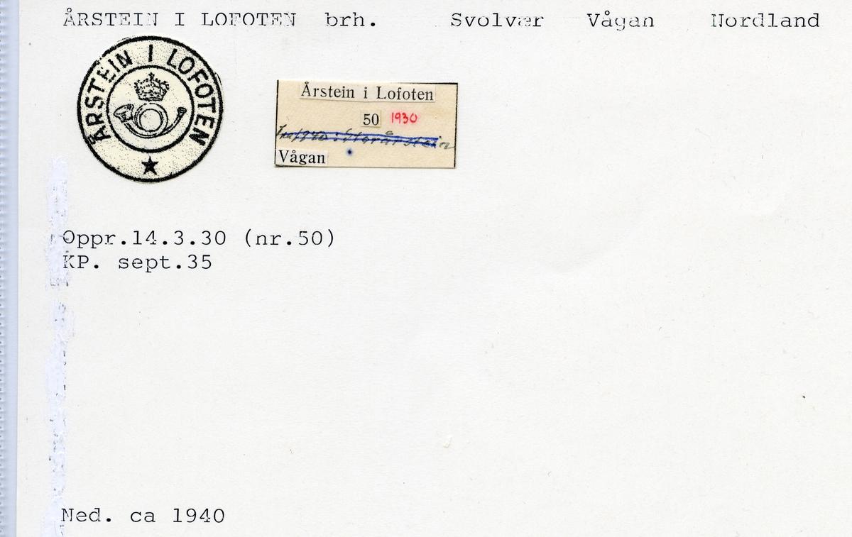 Årstein i Lofoten, Svolvær, Vågan, Nordland Hordaland