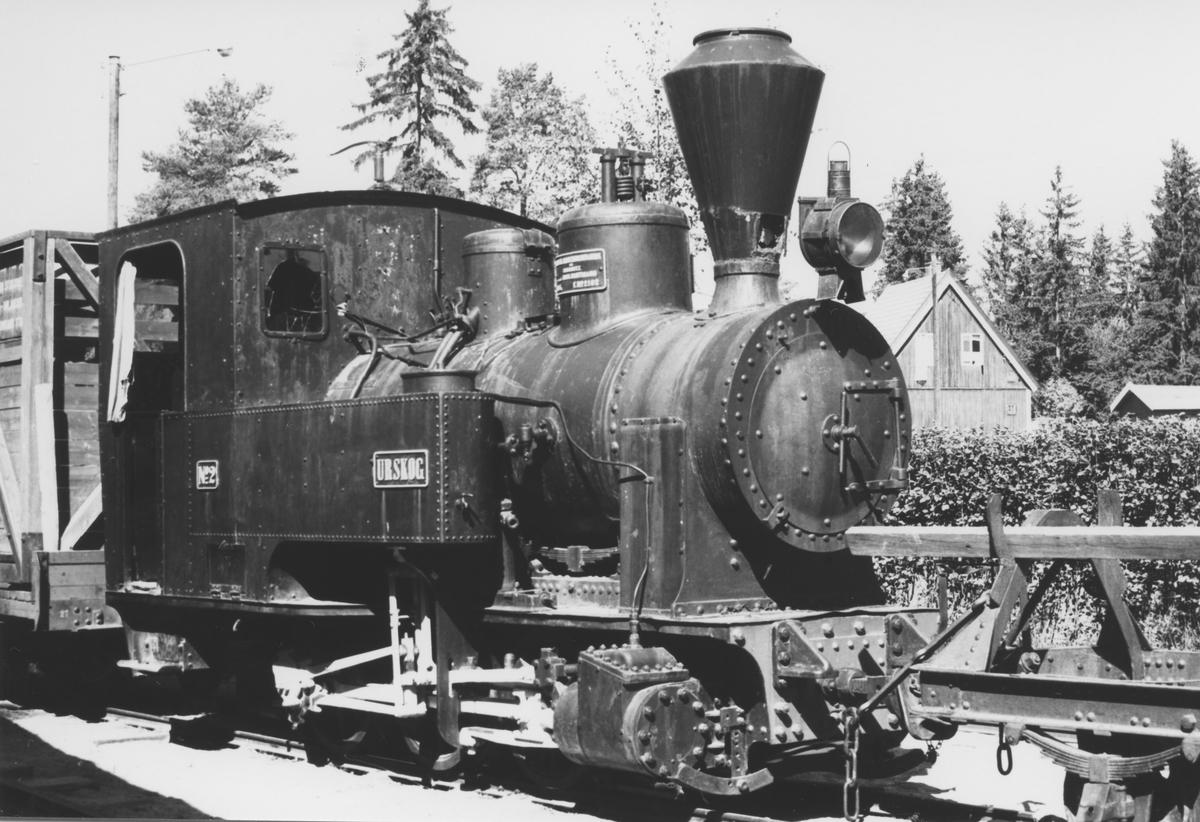 Damplok nr. 2 Urskog fra Urskog-Hølandsbanen utstilt på Jernbanemuseet på Hamar.