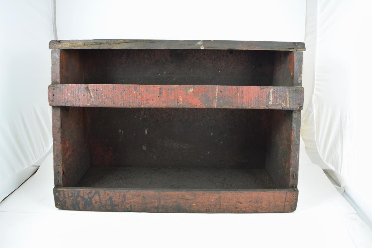 """2. stk. trekasser brukt til oppbevaring av pusseutstyr og brukt som krakk ved pussing av lokomotiv på lokomotivstall. """"Pussekrakker""""."""