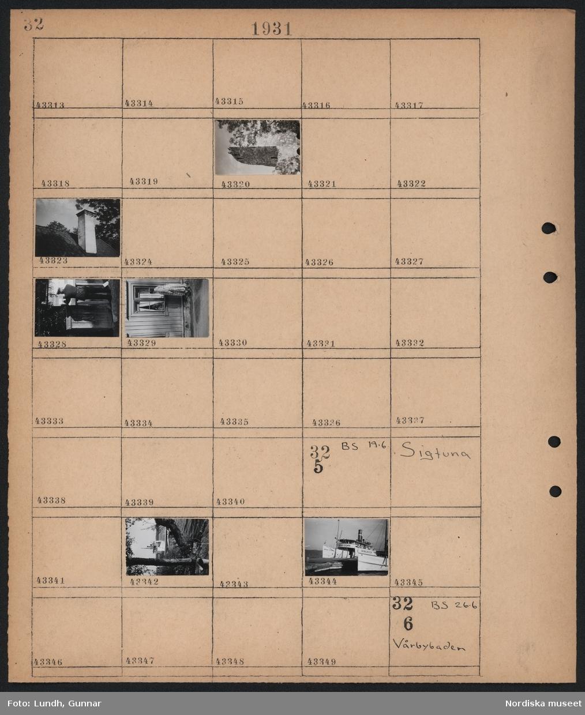 """Motiv: Sigtuna; Exteriör av ruin, detalj av tak med skorsten, man i uniform vid anslagstavla, kvinna tittar in i fönster.  Motiv: Sigtuna; Två båtar """"Hugo Tamm"""" """"Skokloster"""" vid brygga."""