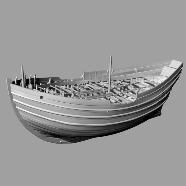 Digital 3D-modell av det arkeologiske skipsfunnet Barcode 2.. Foto/Photo