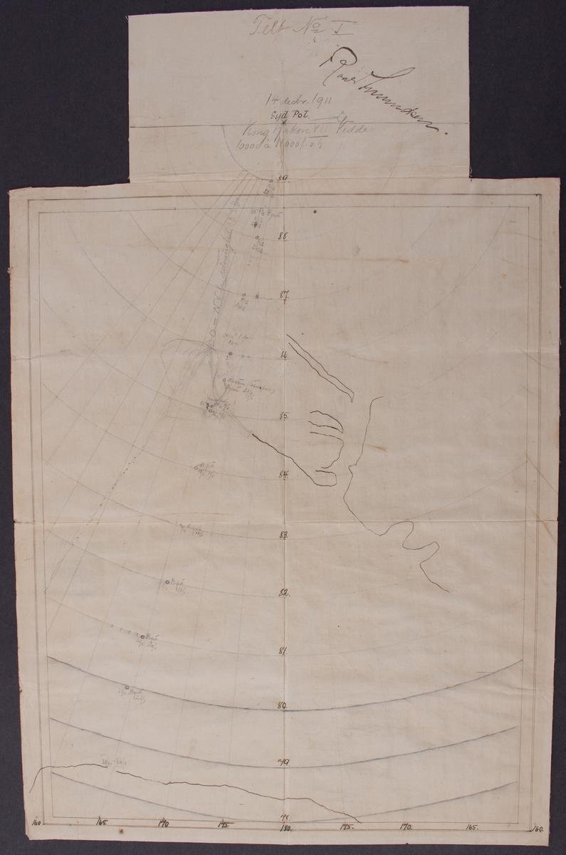 Roald Amundsen depot- og rutekart med dato og posisjoner fra Sydpolekspedisjonen, i ramme og glass.