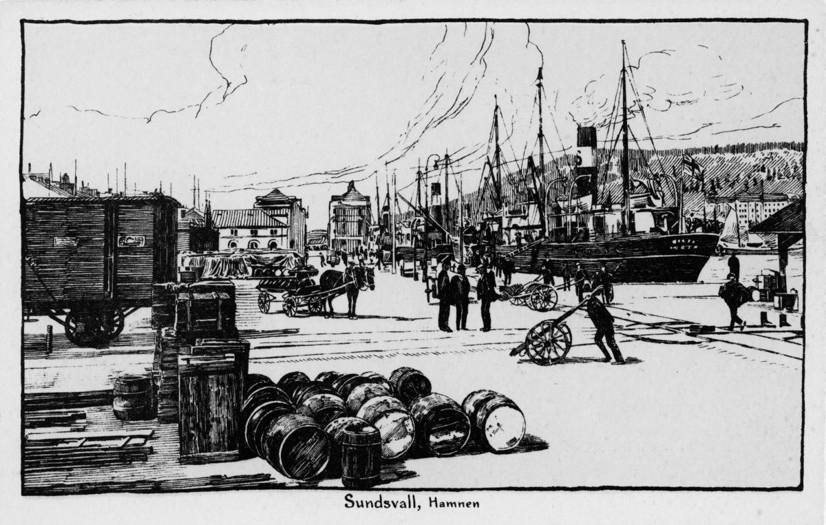 """Hamnen med bland annat  båtar, tunnor och arbetsfolk. Illustration utifrån fotografi. Bildtext på vykort """"Sundsvall, Hamnen""""."""