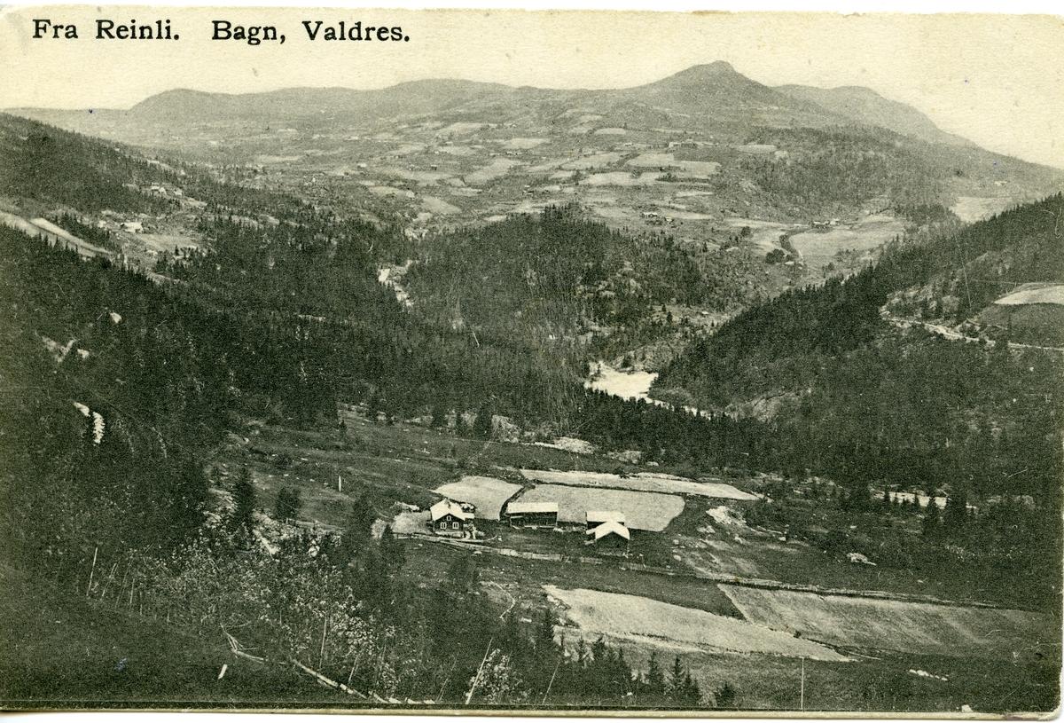 Utsyn mot Reinli, Sør-Aurdal. Postkort.