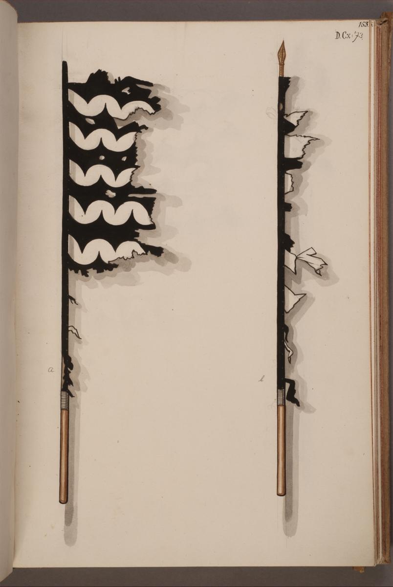 Avbildning i gouache föreställande fälttecken tagna som troféer av svenska armén. De avbildade fanorna finns bevarade i Armémuseums samling, för mer information, se relaterade objekt.