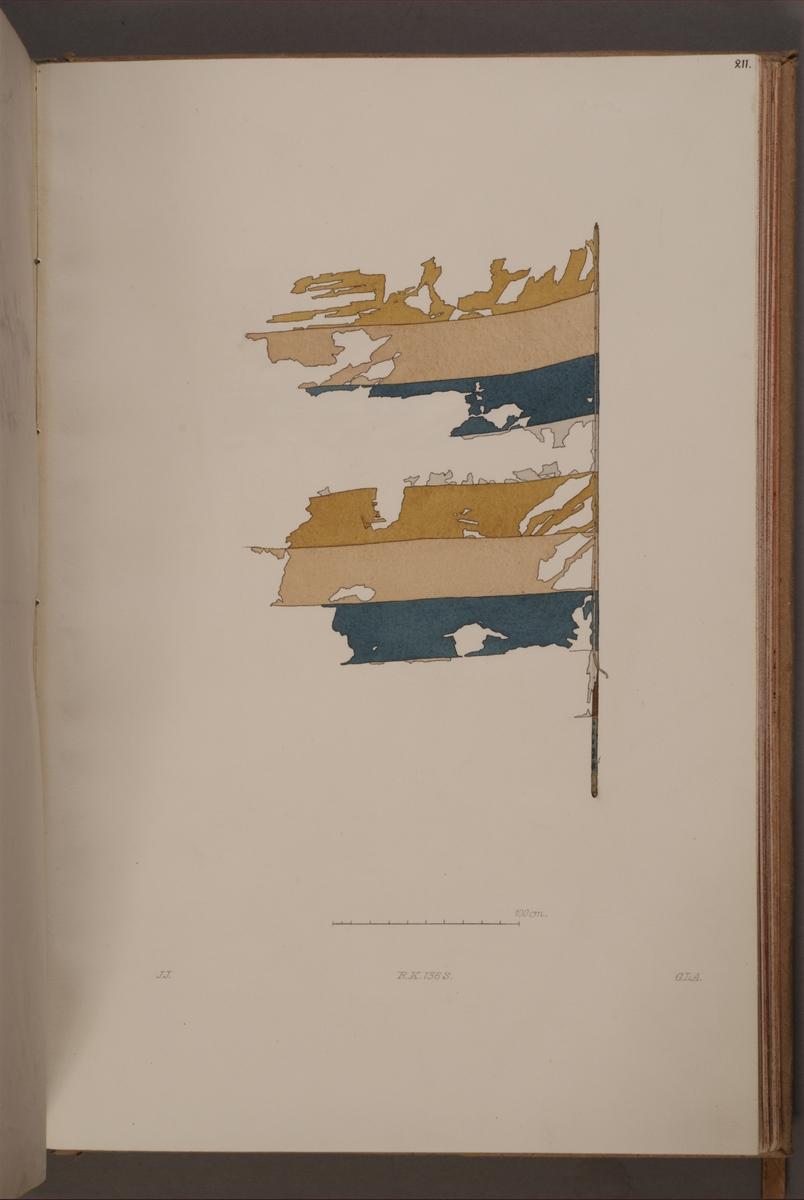 Avbildning i gouache föreställande fälttecken taget som trofé av svenska armén. Den avbildade fanan finns bevarad i Armémuseums samling, för mer information, se relaterade objekt