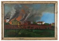 Från Gävle brand 1869 [Oljemålning]