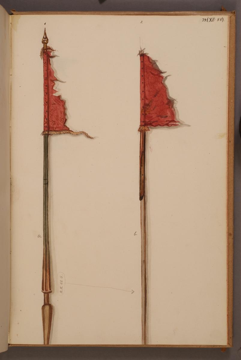 Avbildning i gouache föreställande fälttecken tagna som troféer av svenska armén. Standaret till höger i bild finns bevarat i Armémuseums samling, för mer information, se relaterade objekt.