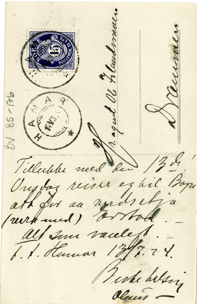 Prospektkort av ein fane, 1923. Til frendar frå Valdres 29.juli 1923.