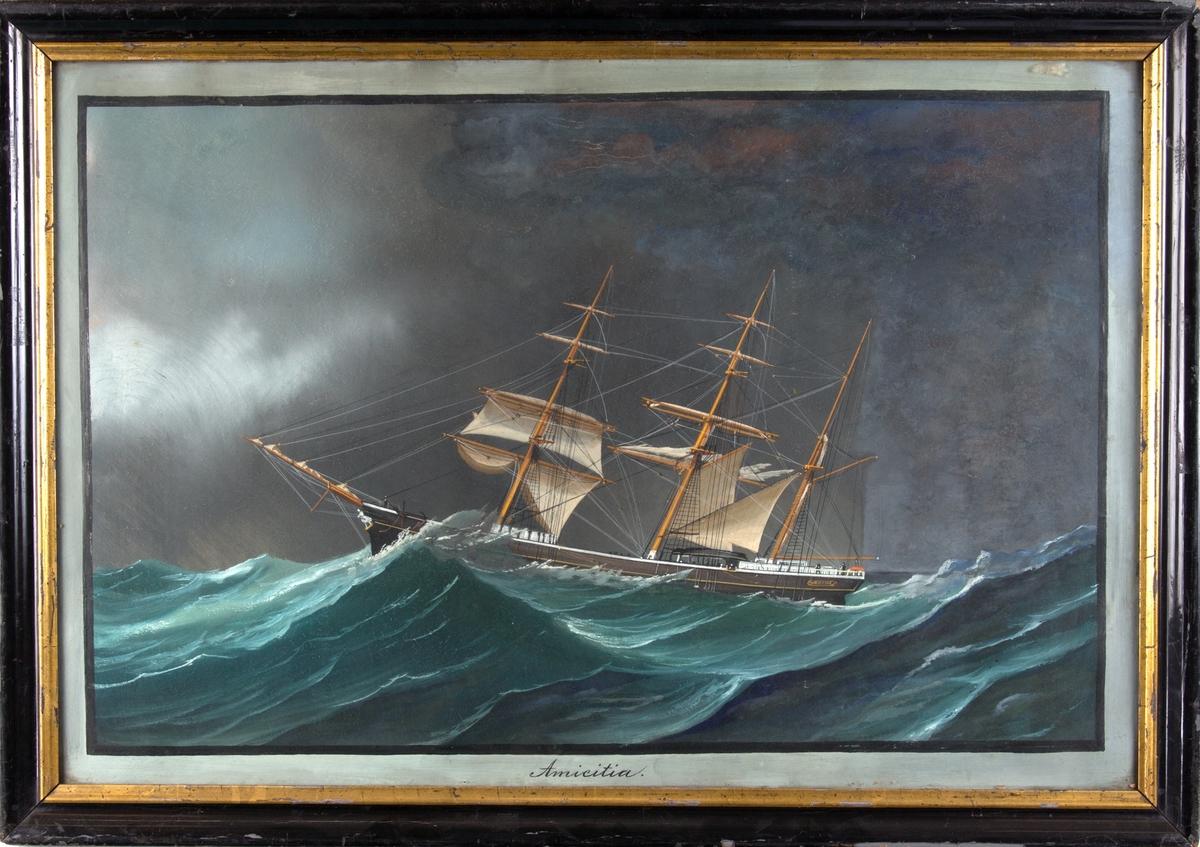 Skipsportrett av bark AMICITIA i en orkan i Hamburgerbukta i 1877på reise fra Baltimore til Altona.Høy sjø og ødelagte seil.