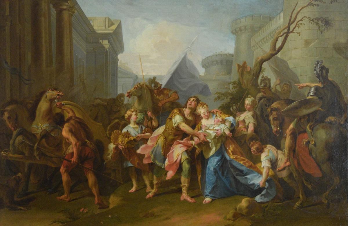 Fremstilt er en scene fra Iliaden hvor forfatteren Homer forteller om den trojanske helten Hektors avskjed med sin hustru Andromakhe og deres sønn Astyanax (egentlig Skamandrios). I maleriet foregår handlingen i et trangt billedrom, begrenset av klassiserende bygninger til venstre og bak. Til høyre er deler av en bymur. Hektor, med himmelvendt blikk, griper om Andromakhe og barnet hun har i armene. Scenen er full av soldater, stridsvogner og hester. En gutt til venstre holder Hektors praktfulle hjelm - bak vaier en blå fane. Hestene i bildet er meget urolige, og har alle unaturlige oppspilte øyne. Det virker som om de på forhånd kjenner den fryktelige skjebnen som vil ramme Hektor og hans familie. For virkelig å understreke dette lar kunstneren betrakteren få øyekontakt med to av hestene til høyre i bildet.