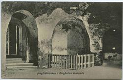 Jungfrubrunnen i Borgholms slottsruin.