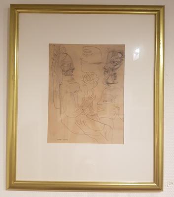 Tegning, uten tittel. Tegning. 60x48 cm. Kr. 4.167