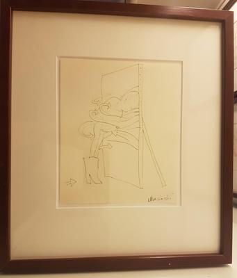 Blyanttegning. Mørk ramme. Tegning. 35x31 cm. Kr. 3.333