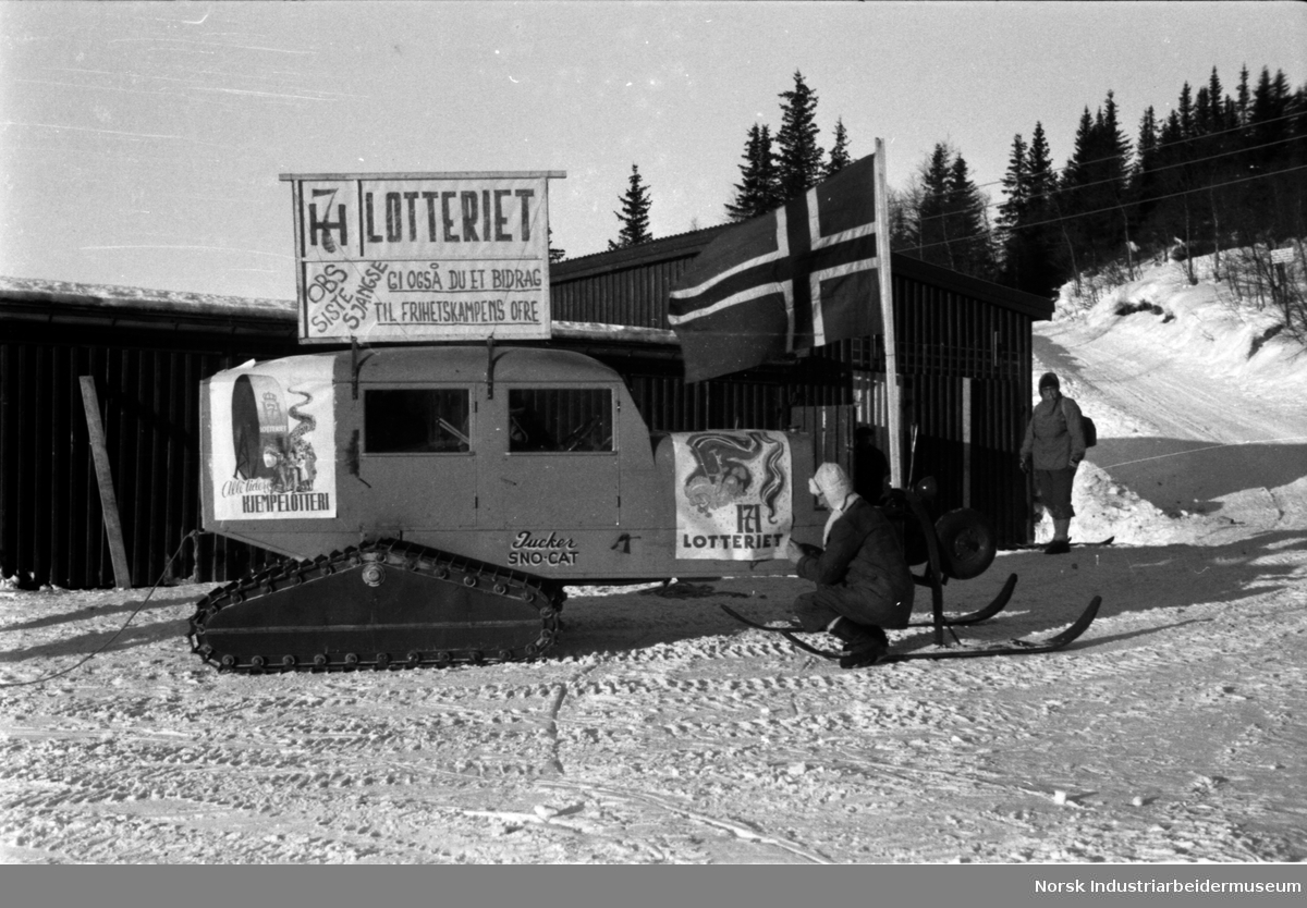 H7 lotteriet. Reklame for loddsalg på snø cat (weasel)