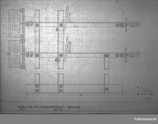Tegning av telefonsentral, mellomkoblingstativ detalj, Stavanger sept 1914. Elektrisk Bureau.