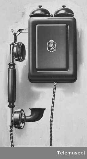 Telefonapparat, cb veggapparat i stål, mtlf.hengende. Klokke 1000 ohm. Elektrisk Bureau.