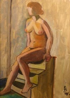 Nakenstudie [Gouachemålning]