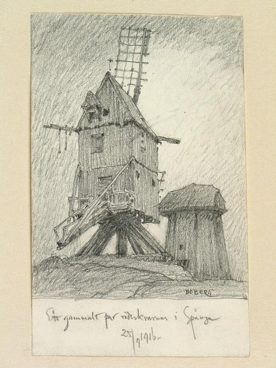 """""""Ett gammalt par väderkvarnar i Spånga"""". Uppland, Sollentuna hd., Spånga sn. Teckning av Ferdinand Boberg"""