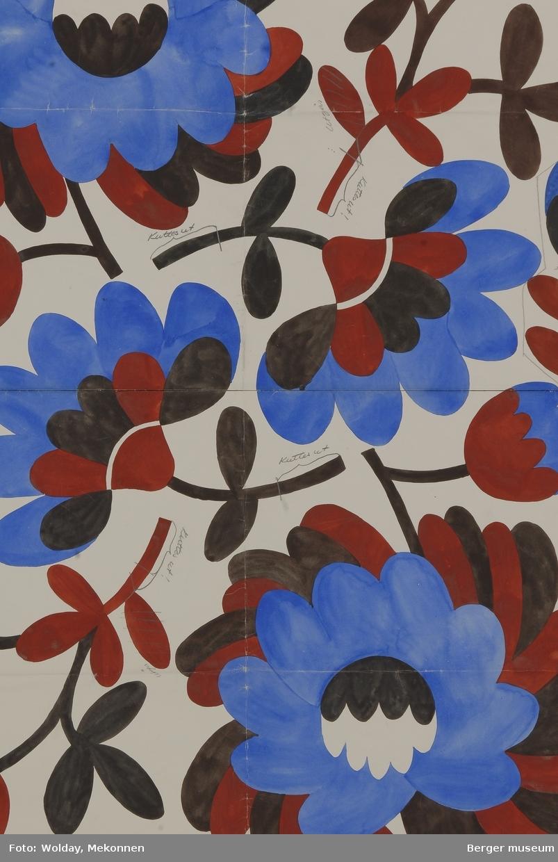 Blomster. Mønsteret har kommentarer om felter som skal kuttes ut i patrontegningen. Mønsteret ble nok for tett med for lite hvite felter.