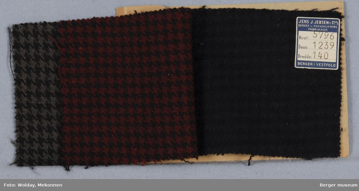 Prøvehefte med 3 prøver Kåpe, bekledning Kvalitet 5796 Stykkfarget