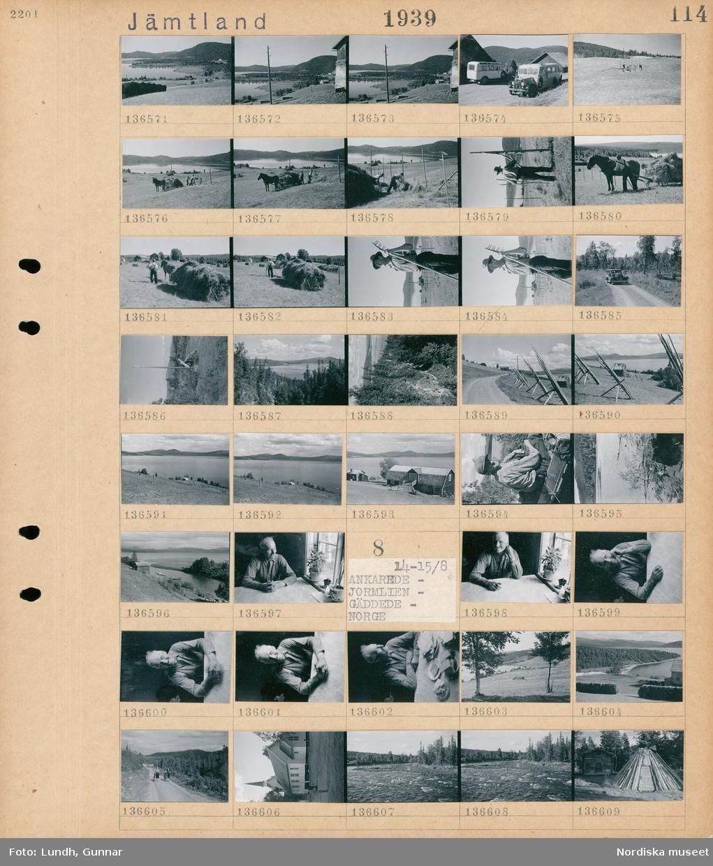 Motiv: Jämtland, Håkafot, Jormlien med pensionatet, Blåsjön; Landskapsvy med sjö och fjäll, parkerade bussar vid en byggnad, två personer lastar hö på en hästdragen vagn på en åker, porträtt av en man med räfsa, en bil på en väg, porträtt av en man, interiör av en man som sitter vid ett fönster.  Motiv: Jämtland, Ankarede, Jormlien, Gäddede, Norge; Interiör med en man som sitter vid ett fönster, landskapsvy med sjö och fjäll, två kvinnor går med cykel på en väg, exteriör av en kyrka, en kåta.