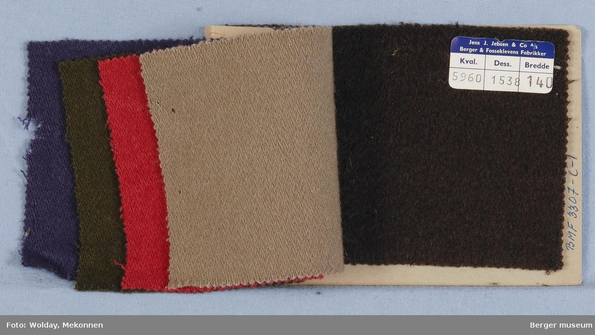 Prøvehefte med 5 prøver Kåpe Kvalitet 5960 Stykkfarget