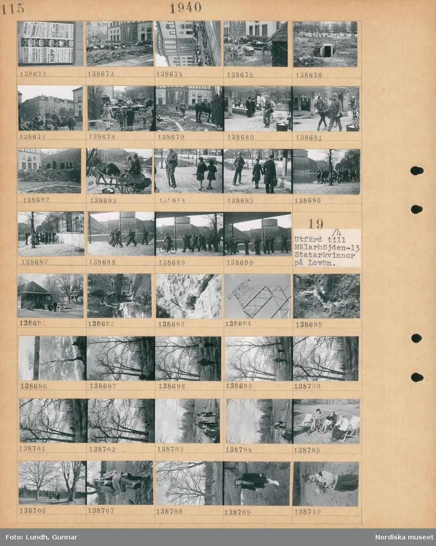Motiv: Isseglingar på Stora Värtan, Stockholm; Löpsedlar, stadsvy med parkerade kärror och hästar, stadsvy med en nedgång till ett underjordiskt utrymme, stadsvy med män i uniform med hästar och kärror, stadsvy med en grupp män i uniform.  Motiv: Utfärd till Mälarhöjden -13, Statarkvinnor på Lovön; Människor sitter i solstolar vid ett hus, en man går i vatten, en elmast, landskapsvy med träd och vatten med isflak, en man och en kvinna promenerar i naturen, två kvinnor och en man sitter i solstolar, porträtt av en man, porträtt av en flicka, en pojke håller ett gevär.