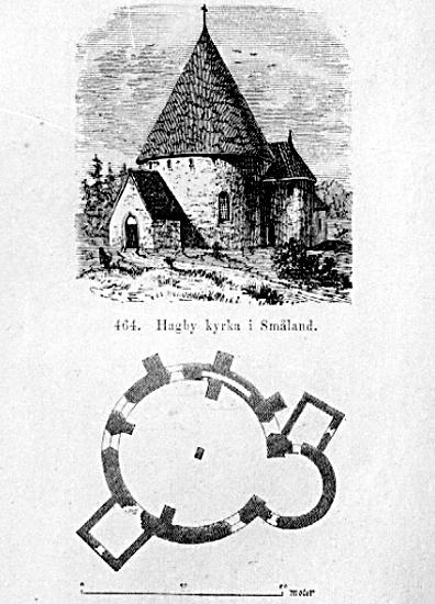 Bildtext: Hagby sn. Hagby kyrka samt planritning.