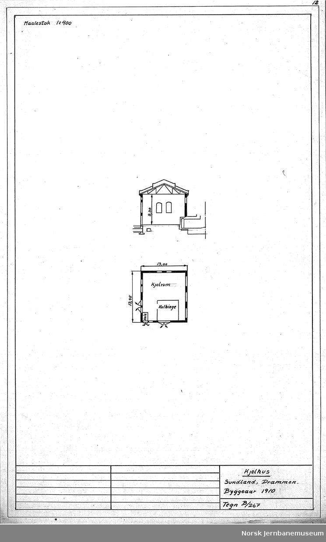 Oversiktstegninger fra NSB Verkstedkontoret 8 tegninger av bygninger på Verkstedet Sundland