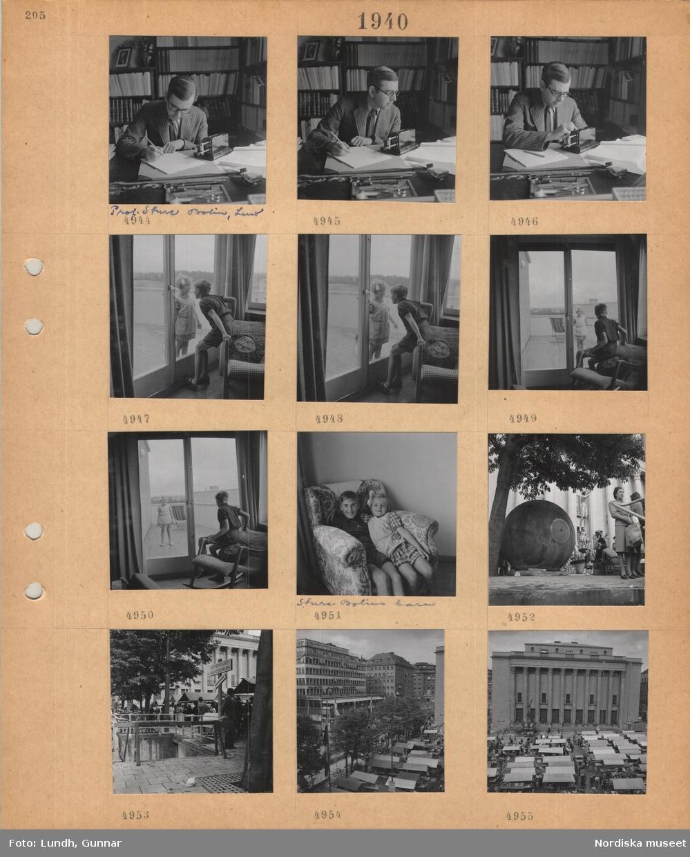 Motiv: En man, professor Sture Bolin, Lund, sitter och arbetar vid skrivbord, räknesnurra, bokhyllor, en flicka och en pojke tittar på varandra genom en glasdörr, pojke och flicka, Sture Bolins barn, sitter i samma fåtölj, Hötorget, Stockholm, exteriör konserthuset, salustånd, nedgång till offentligt skyddsrum, affärsbyggnader.