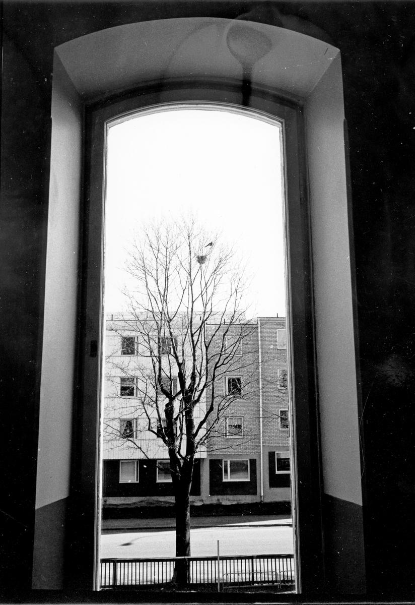 Utsikt mot bostadshus från Söderskolan i Gävle