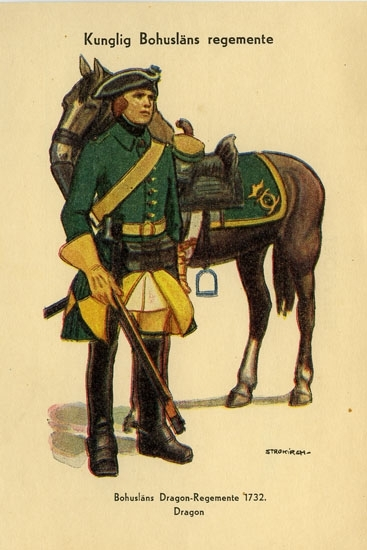 """Enligt Bengt Lundins noteringar: """"Kungliga Bohusläns regemente. Bohusläns Dragon-Regemente 1732. Dragon""""."""