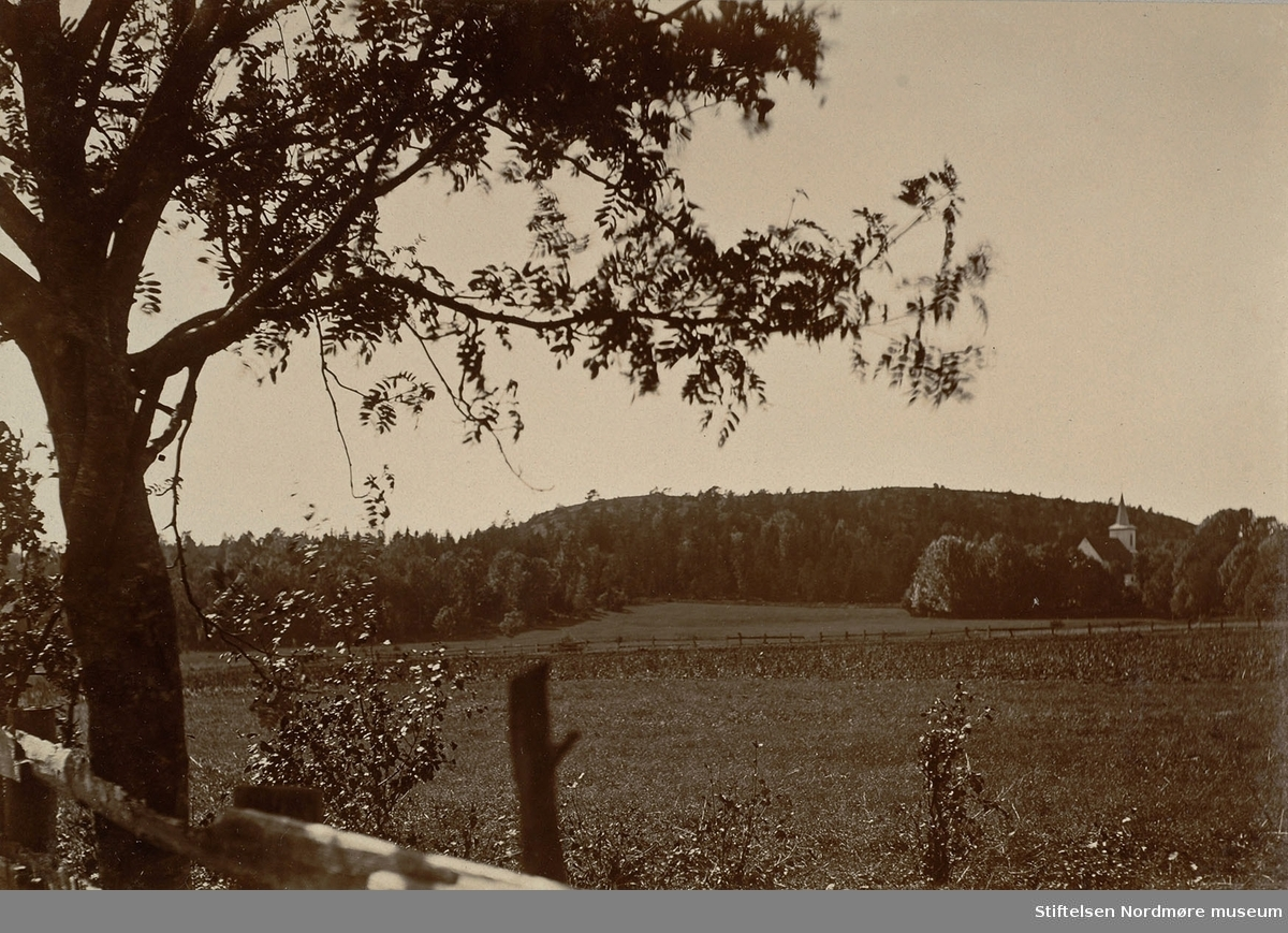 Tanum kirke? Ulleberg pr Larvik.  Bilde fra Marie Knudtzon (1879-1966) sin fotosamling. Se bilde nr KMb-2010-011.0001 for mer biografi. Fra Nordmøre museum sin fotosamling.