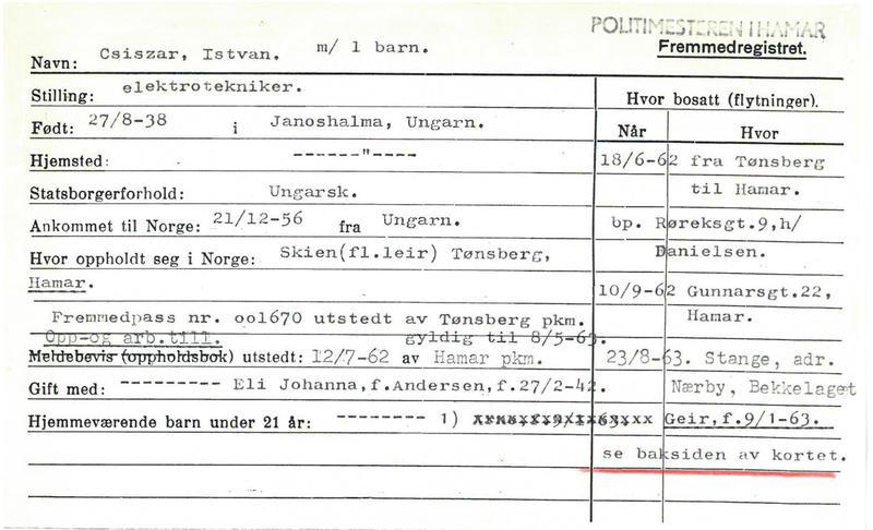 Informasjon som er samlet om Istvan i Fremmedregisteret. (Foto/Photo)