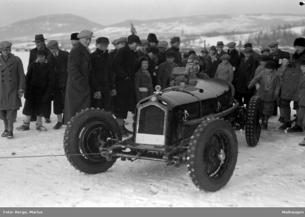 Mjøsløpet 1933. Eugen Bjørnstad med sin Alfa Romeo