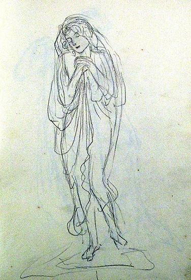 """Enl. Liggaren: """"Skissbok för Agnes de Frumerie, tygperm, förekommer årtalet 1907."""""""