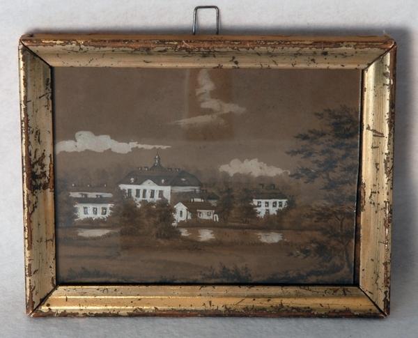 """Enl. Liggaren: """"Akvarell av Österby i Uppland. Målad av H. Fock. Inramad i förgylld ram. Storlek 16.5 x 13 cm""""      C.Å.80/192:1"""