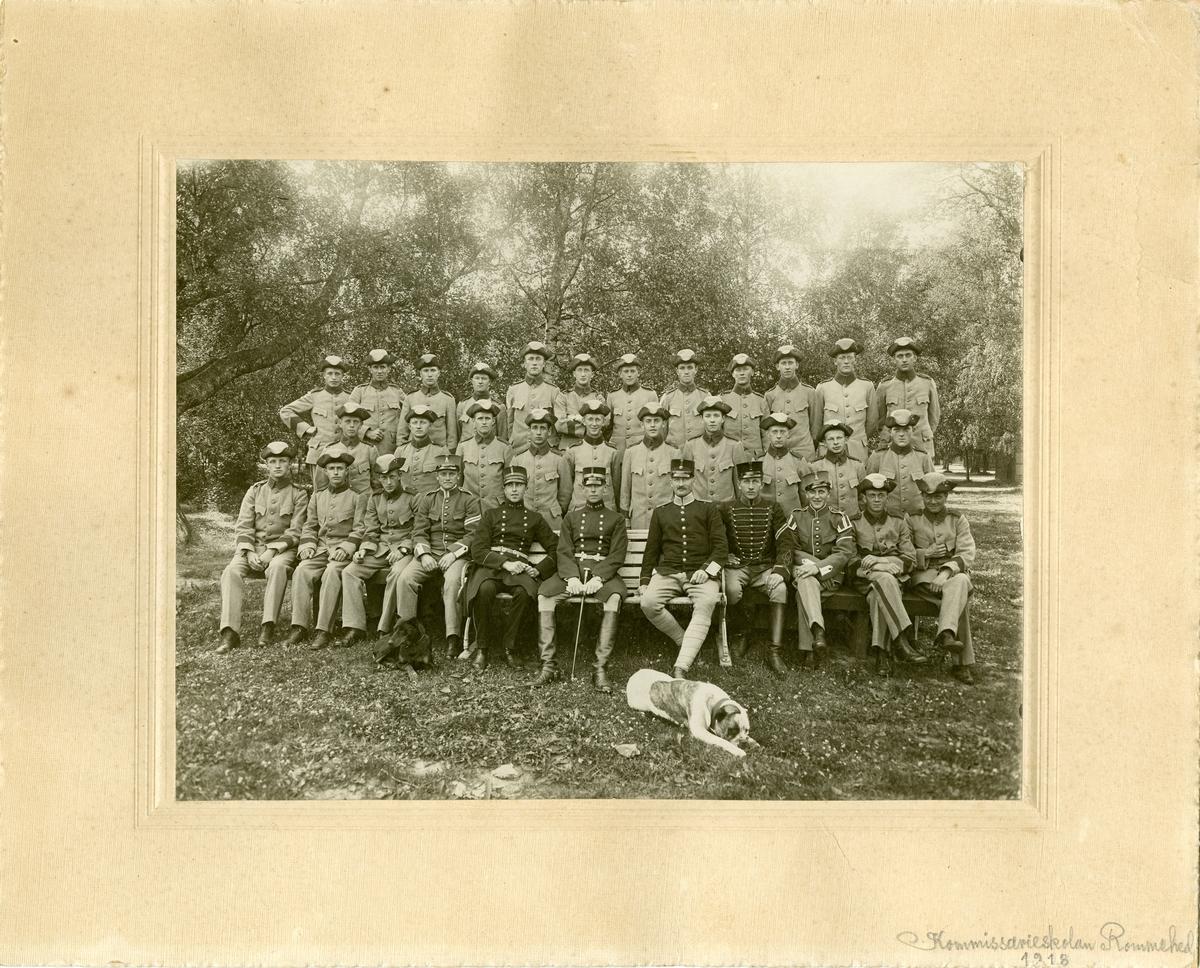 Grupporträtt av Kommissarieskolan på Rommehed 1918. För namn, se bild nr. 3.