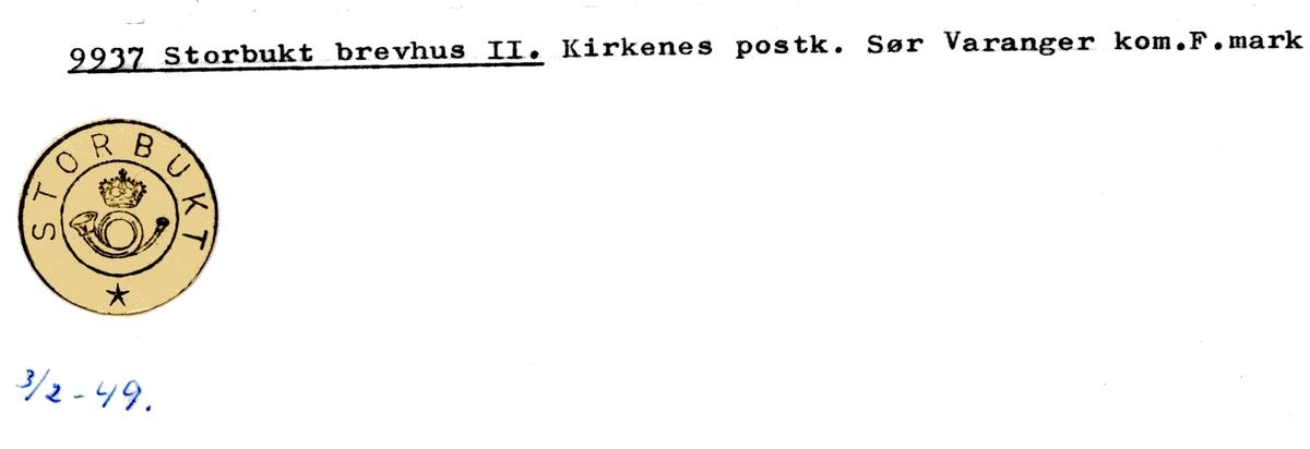 Stempelkatalog 9937 Storbukt, Sør- Varanger kommune, Finnmark