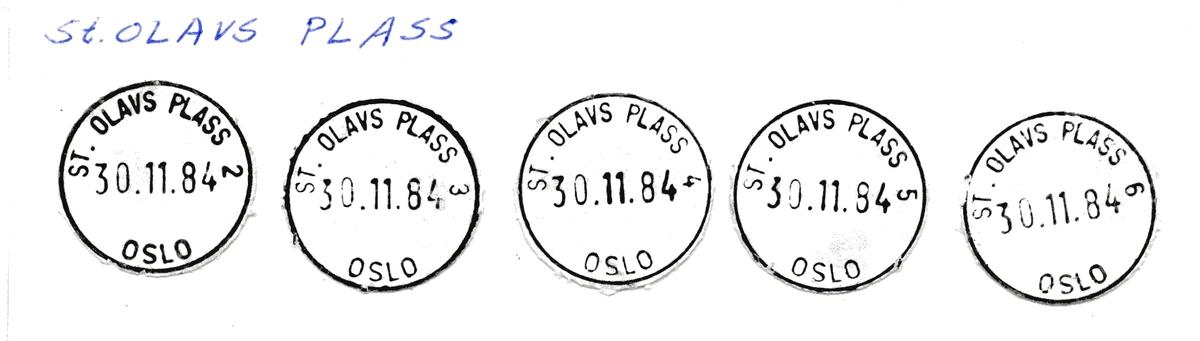 Stempelkatalog St. Olavs plass, Oslo
